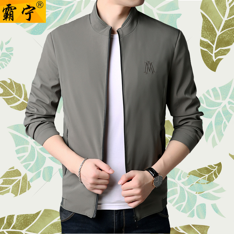 2019 Spring Middle-aged Men's Stand Collar Casual Jacket Handsome Slim Fit Versatile Thin Coat Jacket фото