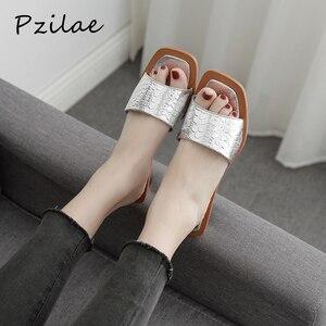 Image 1 - Pzilae 2020 Vrouwen Zomer Slippers Kristal Geometrische Hak Zwart Zilver Sandalen Vierkante Neus Bal Hak Slide Sandalias Mujer