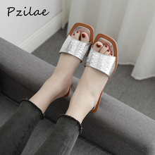 Pzilae 2020 נשים קיץ נעלי בית קריסטל גיאומטרי העקב שחור כסף סנדלי בוהן מרובע כדור שקופיות עקב sandalias mujer
