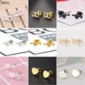 Женские серьги в форме сердца SMJEL, маленькие геометрические серьги из нержавеющей стали с полым сердечком, подарки для друзей