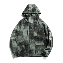 YUECHEN Autumn And Winter New Mens Pattern Hit Color Printing Hooded Tooling Jacket Cotton Three-dimensional Patch Pocket