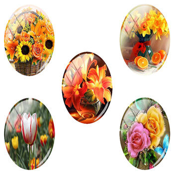 TAFREE Flower Oil Painting Oval Shaped 18x25 mm Photo 5pcs/lot Glass Cabochon Dome Flat Back Jewelry Making Findings E900 image