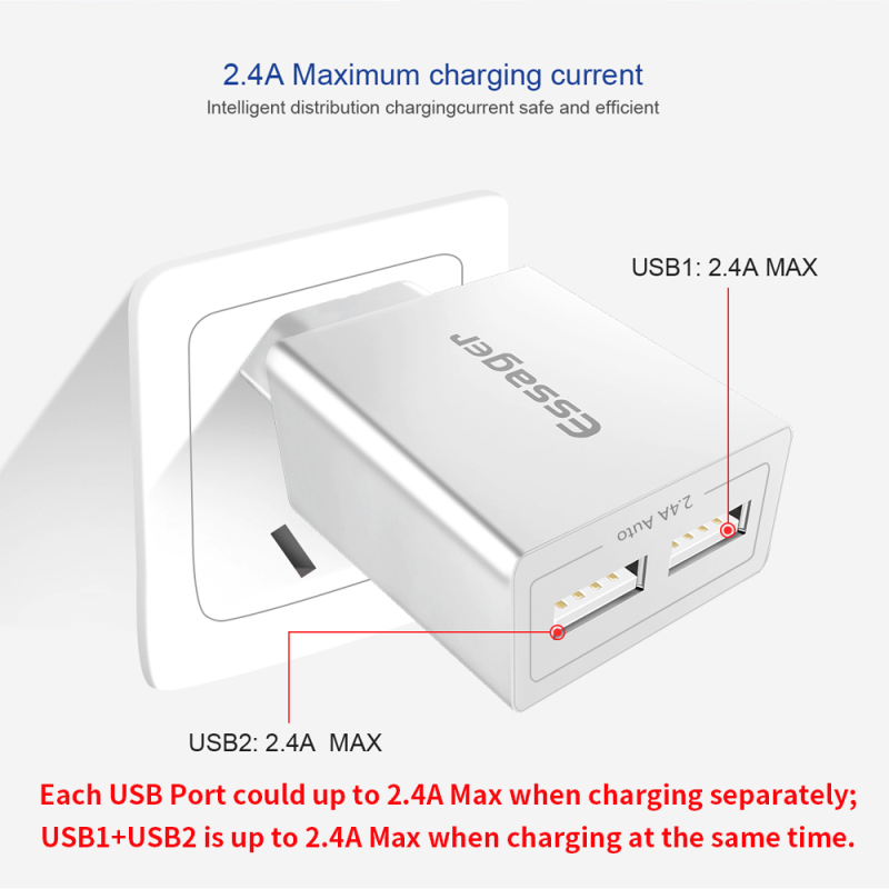 Essager Usb-Charger Samsung S10 Xiaomi 9 Eu-Adapter Mobile-Phone Travel 2 For Dual