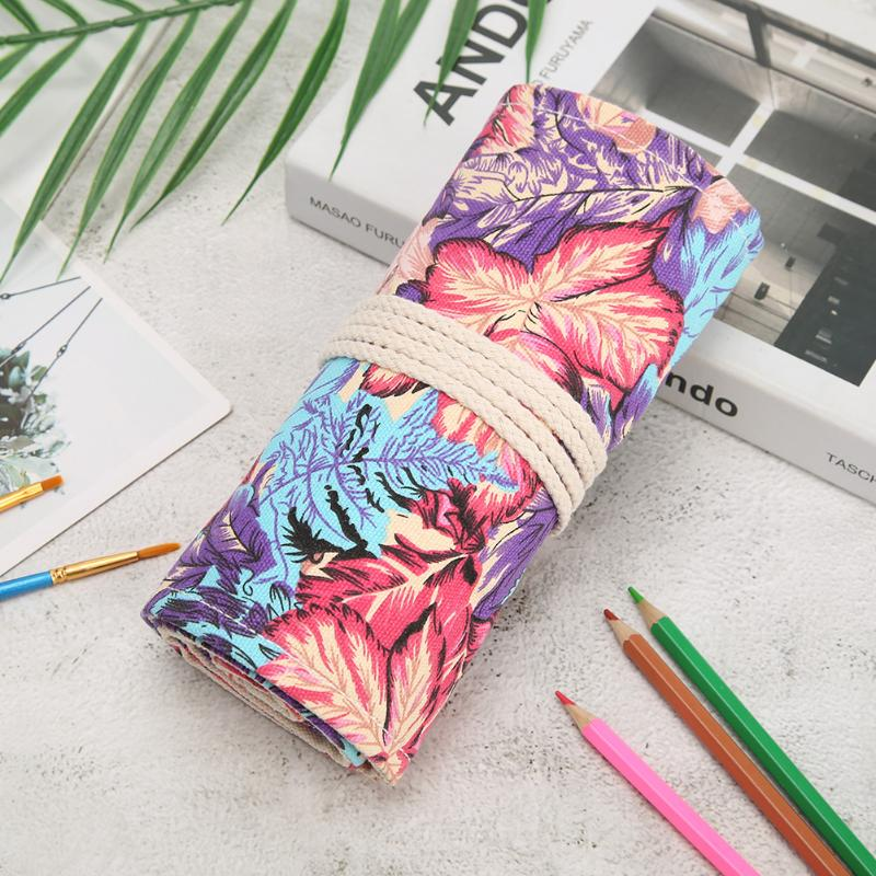 Big Capacity Pencil Case Holes Pencil Case New Portable Canvas Roll Pouch Colored Pencils Box Constellation Sketch Brush Pen Bag