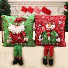 Christmas decorations fine flannelette Santa three-dimensional pillow with leg cushion 50X35cm household items