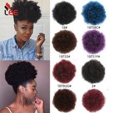 Leeons-extensiones de cabello Natural, coleta con cordón, cola de caballo, pelo sintético rizado, cola de caballo