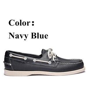 Image 3 - أحذية قيادة جلد طبيعي للرجال ، أحذية قيادة أنيقة جديدة على شكل قارب كلاسيكي ، تصميم العلامة التجارية بدون كعب للرجال والنساء 2019A010