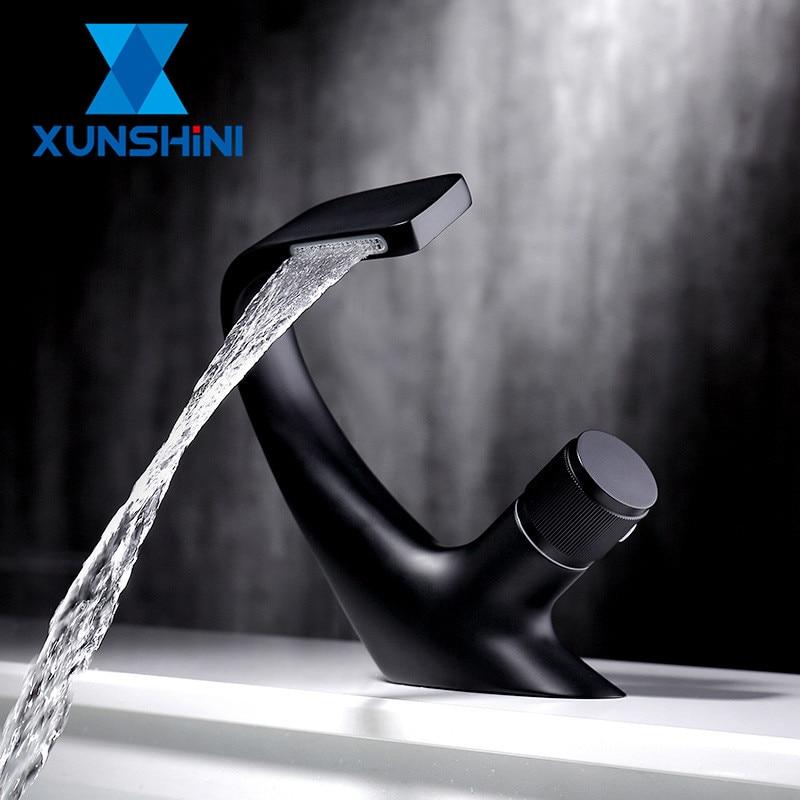 XUNSHINI роскошный кран для раковины, современный латунный кран для водопада, смесители для ванной комнаты, кран для раковины, кран для холодной и горячей воды Смесители для бассейна      АлиЭкспресс