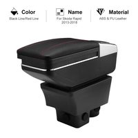 For Skoda Rapid 2013 2018 Car Armrest Box PU Leather Central Container Storage Box Car Styling Accessories