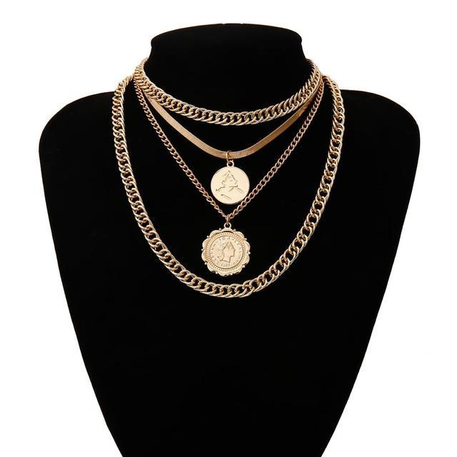 IngeSight.Z 2Pcs/Set Retro Multi Layer Curb Cuban Choker Necklace Punk Carved Coin Portrait Pendant Necklaces for Women Jewelry