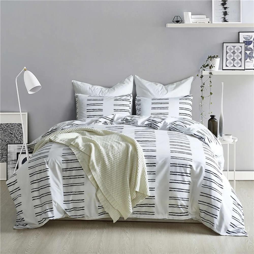 us 37 64 18 off best wensd comforter beding set duvet cover stripe black white 228 228cm bed comforter california king bedding sets