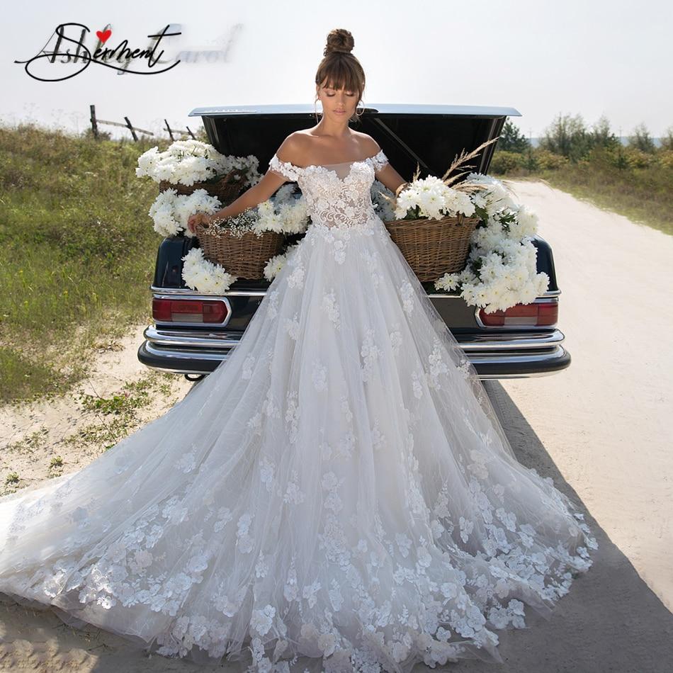 OLLYMURS 2020 Luxury Wedding Dress V-neck Card Shoulder Wedding Dress Sexy Backless 3D Decal Bride Support Tailor-made