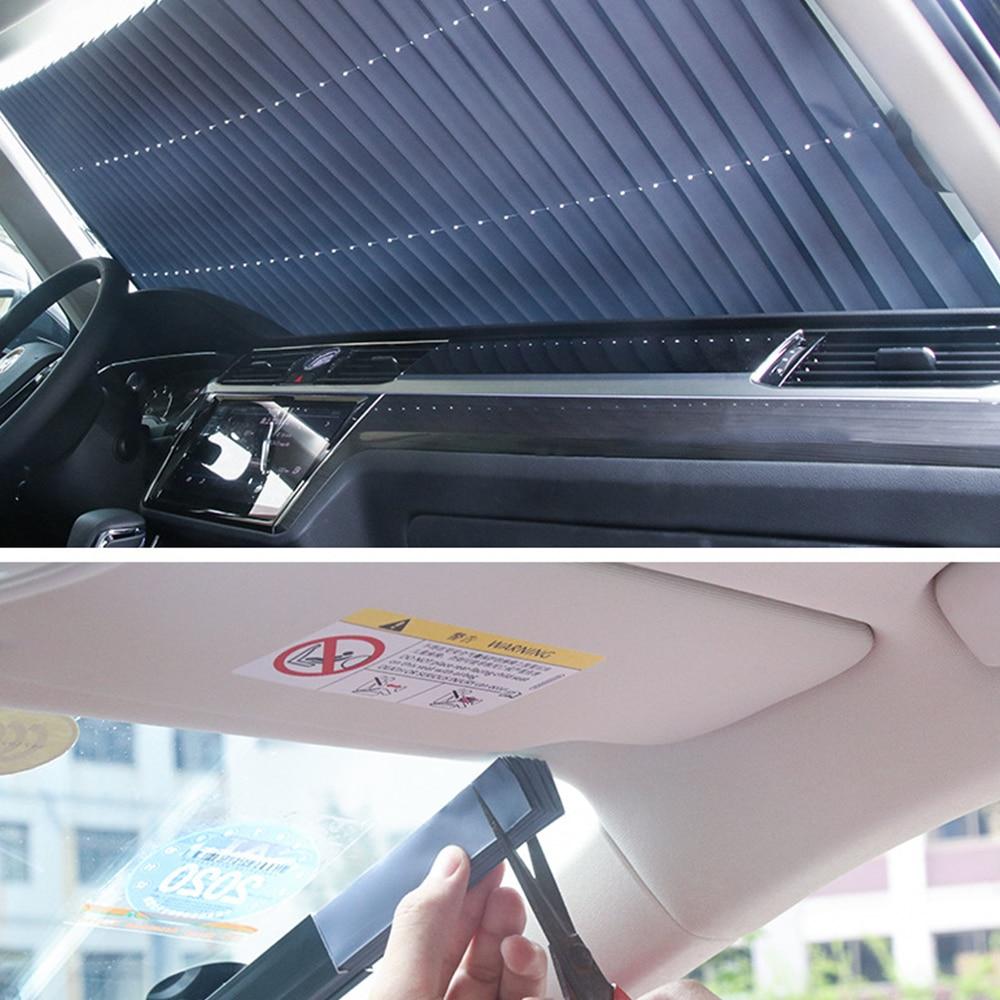 Car Windshield Sunshade Curtain Retractable Folding Car Sunshade Cover Reflective Aluminum Film Curtains Anti-UV Car Sun Shade