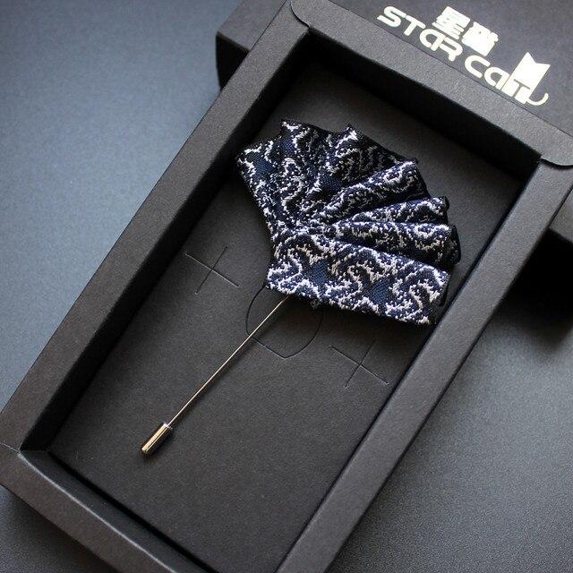 Wysokiej jakości garnitur męski chusteczka do kieszeni koszula broszka z kwiatem Jelwery przypinka ślubna oblubieniec sukienka broszki na akcesoria dla mężczyzn