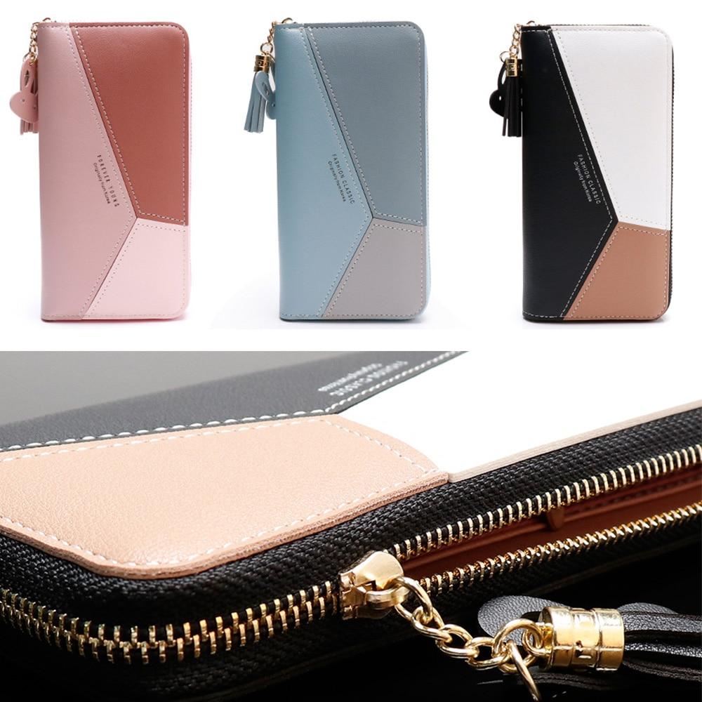 2019 Luxury Brand Leather Wallets Women Pink Phone Pocket Purse Tassel Design Wallet Lady Female Money Bag Credit Card Holder