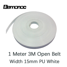 Bemonoc 1 Meter HTD 3M Open Synchronous Belt Width 3M-15mm-1Meter Polyurethane Steel PU White HTD3M Timing Belt CNC Accessories