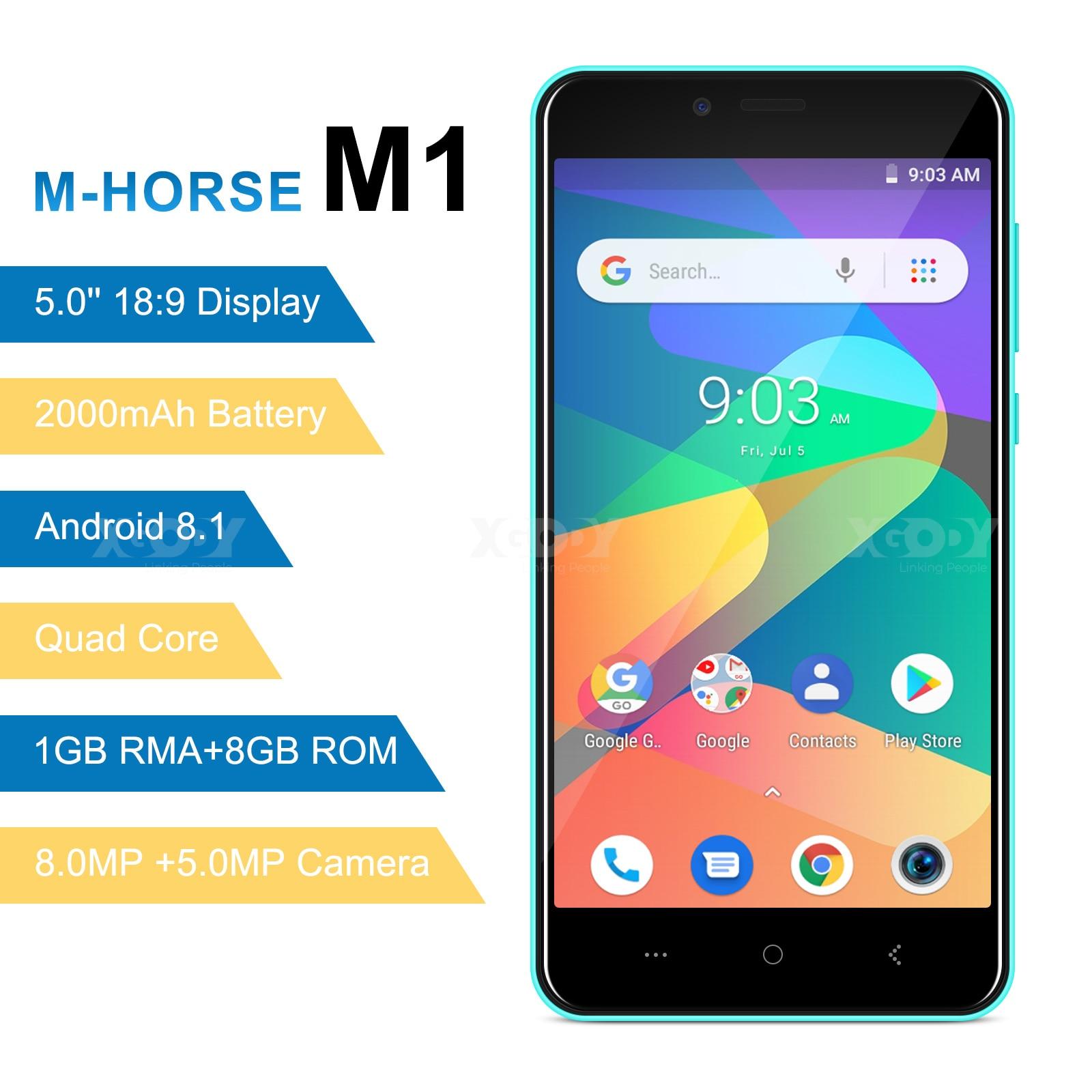 M-HORSE 3G Smartphone Android 8.1 2000mAh Celular 1GB + 8GB Quad Core 5.0 polegada 18:9 Cheia tela 8MP Câmera Do Telefone Móvel Dual