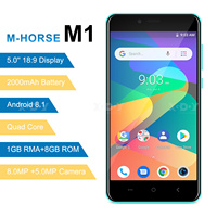 M HORSE 3G Smartphone Android 8.1 2000mAh Cellphone 1GB+8GB Quad Core 5.0 inch 18:9 Full Screen 8MP Dual Camera Mobile Phone