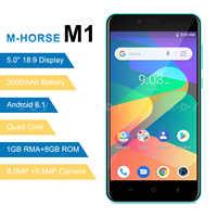 M-HORSE 3G smartfon Android 8.1 2000mAh telefon komórkowy 1GB + 8GB Quad Core 5.0 cal 18:9 na pełnym ekran 8MP podwójny aparat fotograficzny telefon komórkowy