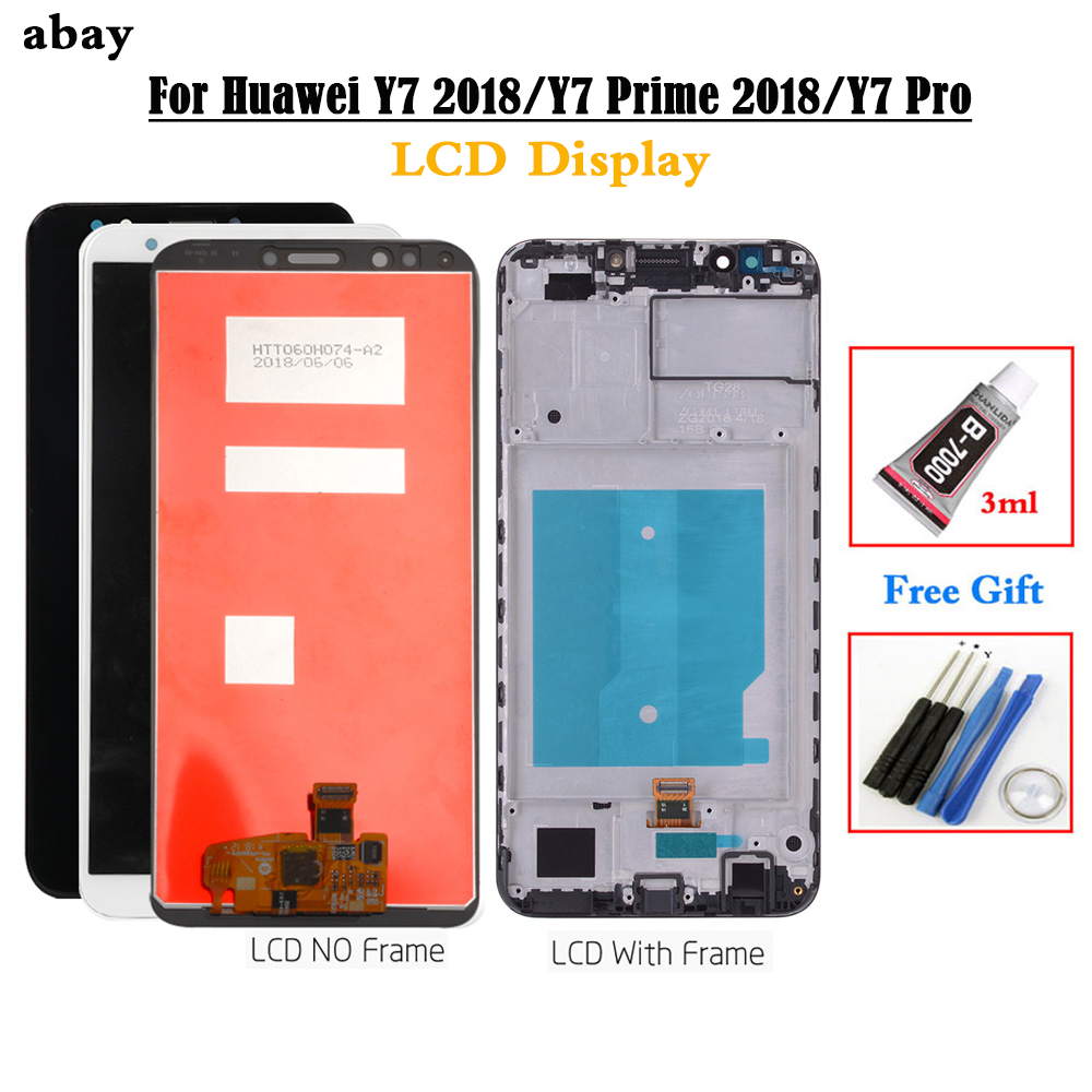 For Huawei Y7 2018 LCD Display Touch Digitizer For Huawei Y7 Pro 2018 LCD With Frame Y7 Prime 2018 Screen Assembly Lcd 5.99''