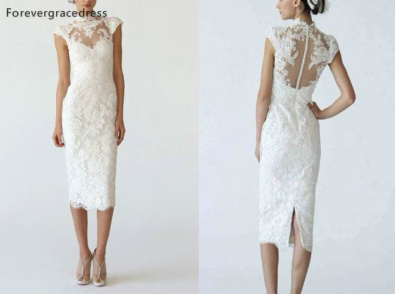 Weiß Spitze Knie Länge Hochzeit Kleid Mantel Spalte High Neck Bleistift Kleid Brautkleider