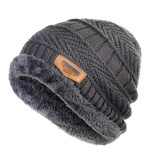 Men's winter Fashion Knitted Black Fall Hat 4