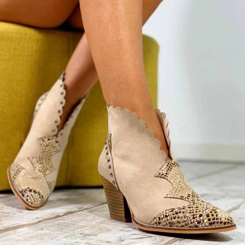 Femmes hiver dentelle PU cuir Cowboy bottines femmes cale talon haut chaussons serpent imprimer Western Cowgirl bottes Botas Mujer