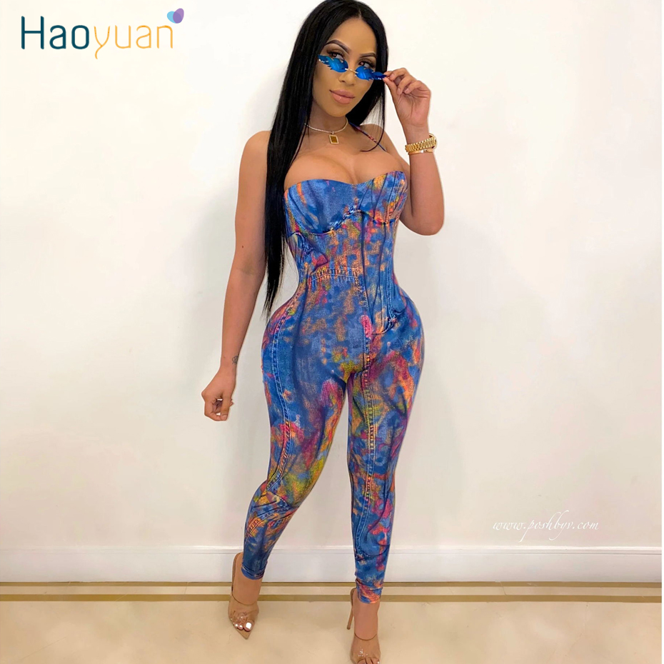 HAOYUAN Sexy Rompers Womens Jumpsuit Stretch Summer Clother One Piece Club Outfits Off Shoulder Backless Tube Bodycon Overalls