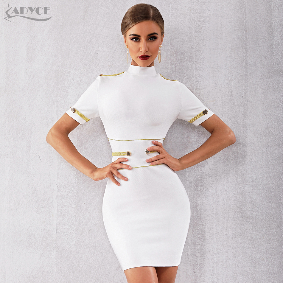 Adyce 2020 New Summer White Bandage Dress Women Elegant Celebrity Evening Party Dress Vestido Sexy Short Sleeve Night Club Dress