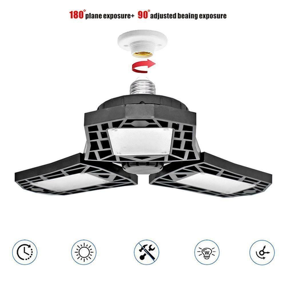 6500K 60W E26 E27 Foldable Deformable Garage Emergency Lights Workshop Ceiling Fan Lamp 144LED