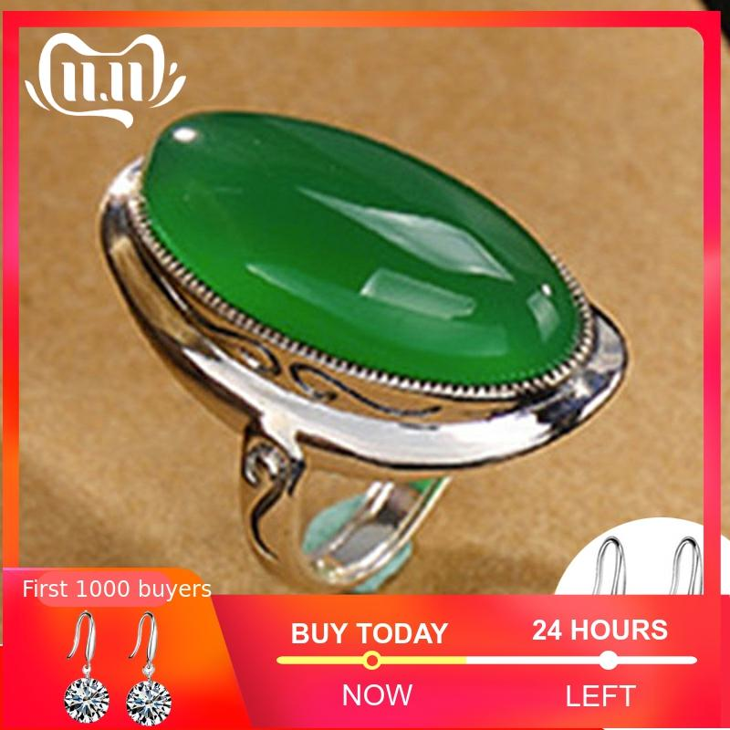 NOT FAKE S925 Fine Antique Shop Rings Emerald Rings Luxury Taste Women Handmade Vintage Natural Chalcedony Moldavite Peridot  Ar