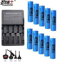 цена на 10pc 3.7V 1600mAh 18650 battery rechargeable Li-Ion battery + Battery charger with EU Cable for 18350 14500 18650 16340 Battery