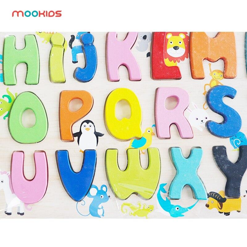 Livraison gratuite en bois majuscule lettre Puzzle en bois coloré lettre Puzzle bébé jouets éducatifs pour les enfants