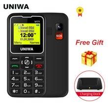 UNIWA V171 1,77% 22 дисплей SOS 2G мобильный функция телефон большая кнопка беспроводной телефон FM громкий динамик 10 дней режим ожидания зарядка док-станция