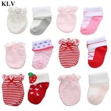 KLV, милые детские носки для маленьких девочек, дышащие перчатки с защитой от царапин для новорожденных