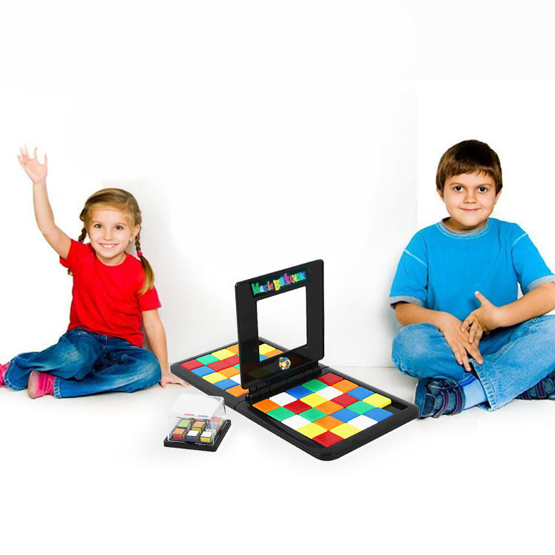 Magic Cubes Toys Game Board Game Parent-Child Slide Double Puzzle Funny Magic Toys For Family Party Present Camping Race Board