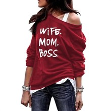 Rundhals Schulter Hoodies Hoodies Für Frauen Frau Mom Boss Briefe Druck Kawaii Tops Sweatshirt Femmes Frauen Sweatshirts Frauen