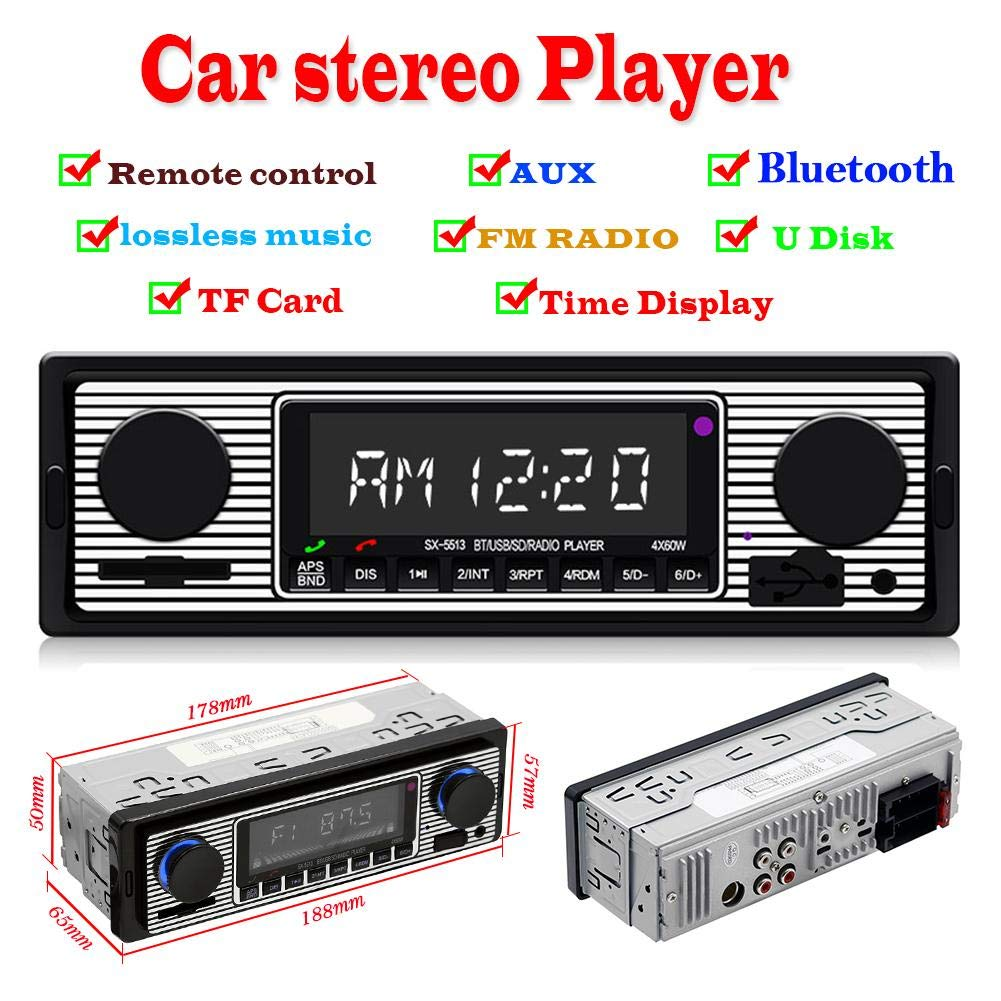 1 Din ISO interface 12V Bluetooth Auto Stereo Car Radios With Remote Control In-dash FM Radios Aux SD USB MP3 Car Audio Players image