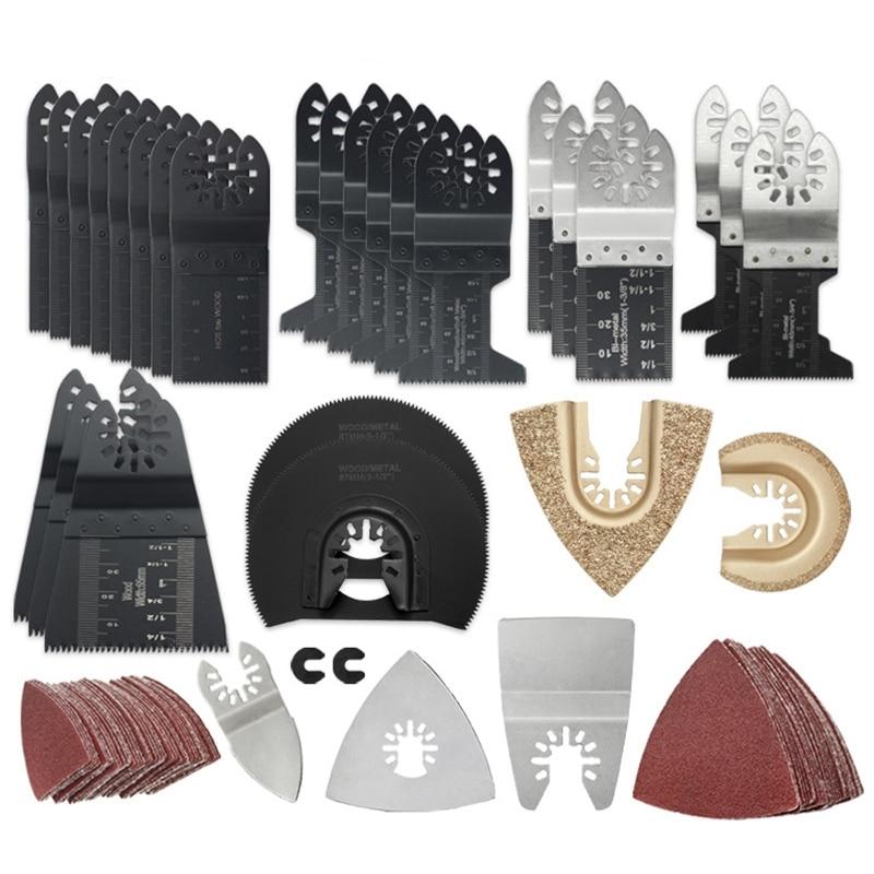 108 Pcs Wood/Metal Multi Tool Saw Blades Accessories Kit Quick Release Multi Tool Kits Fits for Fein  Dewalt Ryobi