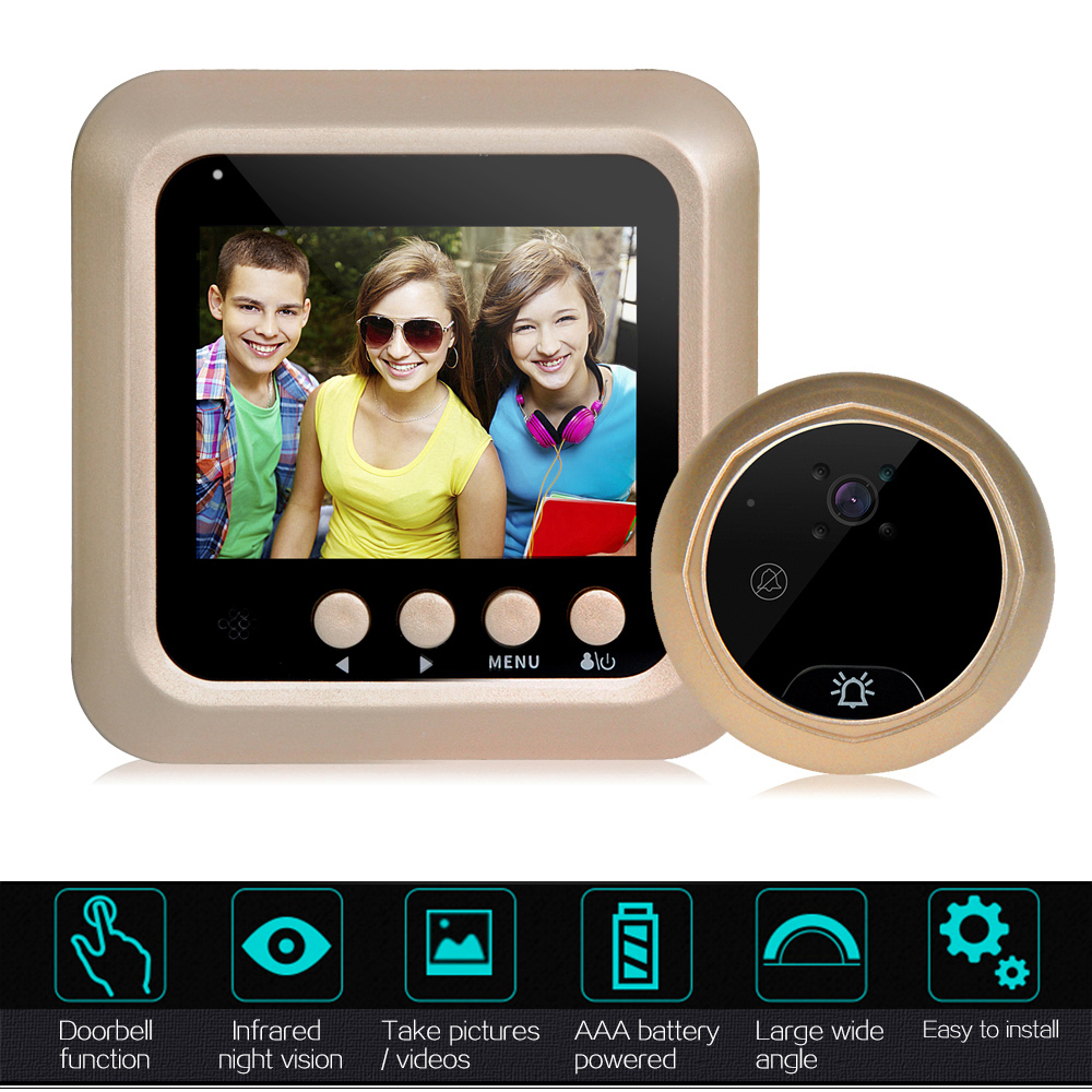 22.4 Inch Smart Digital Door Viewer Camera Door Eye Video Record Peephole Viewers IR Night Vision PIR Motion No Disturb Doorbell