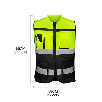 Multi-pockets High Visibility Zipper Front Safety Vest with Reflective Strips Y4UA zipper front backpack with tassels