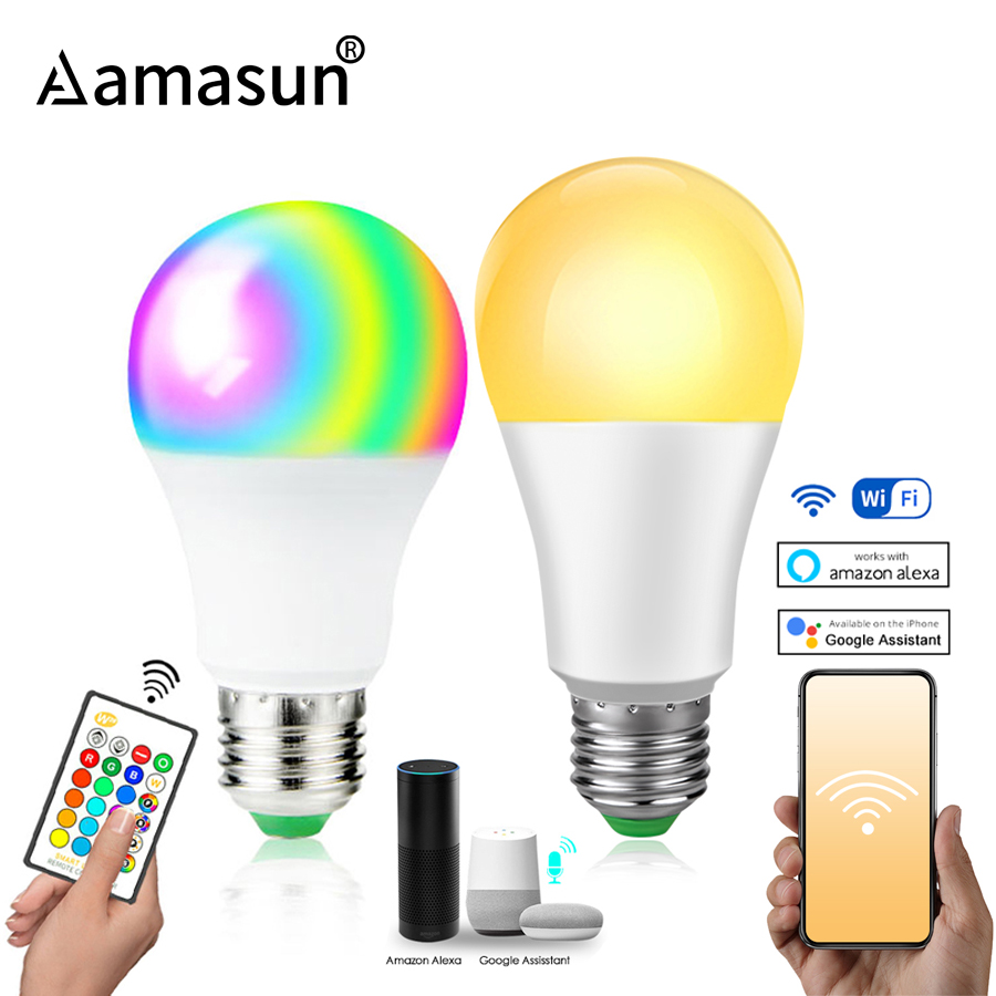85-265V E27 LED Lamp RGB 15W Bluetooth Wifi APP Control Smart Bulb 10W RGBW RGBWW Light Bulb IR Remote Control Home Lighting