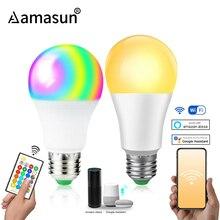 85 265 فولت E27 LED مصباح RGB 15 واط بلوتوث واي فاي APP التحكم مصباح ذكي 10 واط RGBW RGBWW ضوء لمبة IR التحكم عن بعد المنزل الإضاءة