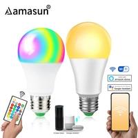 85-265V E27 lámpara LED RGB 15W Bluetooth Wifi aplicación de Control inteligente bombilla 10W RGBW luz RGBWW bombilla IR Control remoto de iluminación