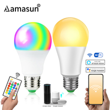 85 265V E27 LED מנורת RGB 15W Bluetooth Wifi APP שליטה חכם הנורה 10W RGBW RGBWW אור הנורה IR שלט רחוק בית תאורה