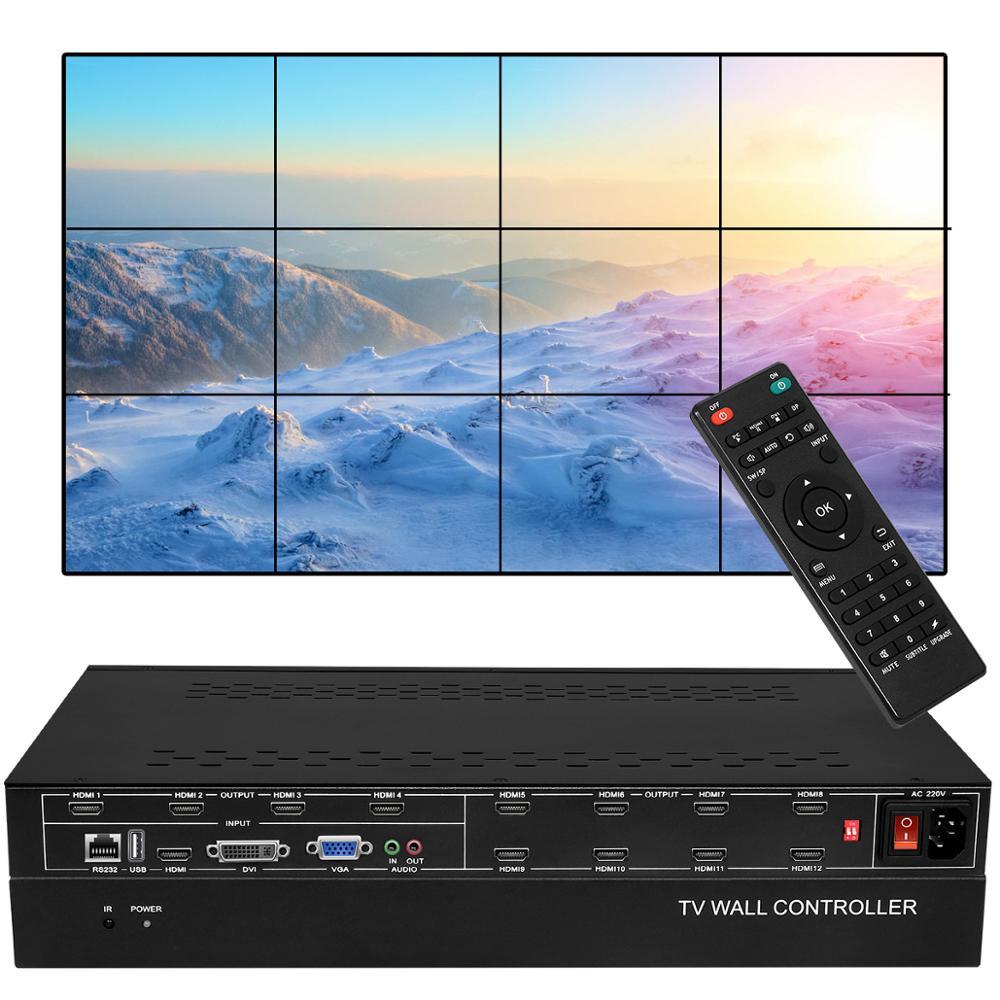 12 canaux TV HDMI contrôleur de mur vidéo avec 3x4 2x6 2x5 2x4 3x3 3x2 2x2 Mode d'épissage HDMI DVI VGA USB processeur vidéo