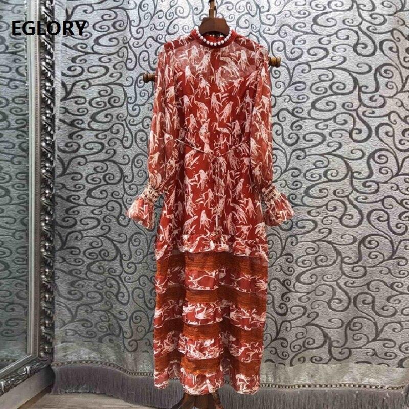 Élégant robe longue 2019 automne fête événements femmes perles perles exquise impression à manches longues Maxi robe Vestidos Longo Festa