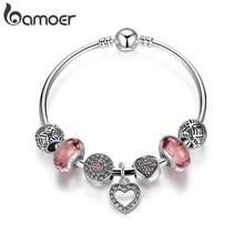 BAMOER простые браслеты дружбы сердечко серебряного цвета кулон браслеты с европейскими бусинами девушка браслет распродажа PA3805