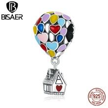 Bisaer 925 пробы мечта горячий воздух воздушный шар Подвески подходят к оригинальному браслету кулон циркон бусины Мода 925, ювелирное изделие, п...