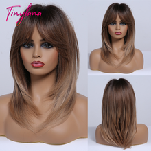 TINY LANA perruque synthétique mi lisse brune Blonde cendrée gris gris, couche avec frange en fibre résistante à la chaleur pour femmes